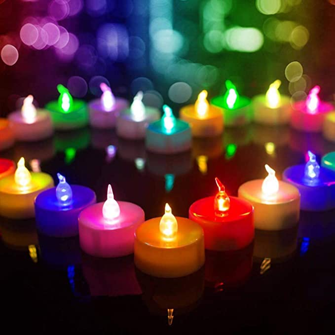 Beichi Color Changing Led Tea Lights Bulk Set Of 24 Flameless Tealight Candles With Colorful Lights Battery Operated Colored Fake Candles No Flickering Light White Base Amazon Ca Home Kitchen