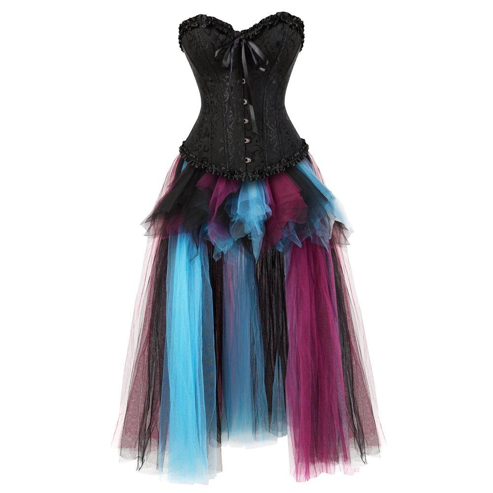 Black bluee8197018 frawirshau Women's Lace Up Boned Bustier Wedding Top Burlesque Corset Bustier