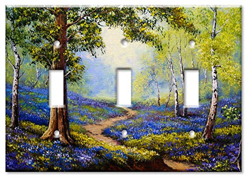 Art Plates 3-Gang Toggle OVERSIZE Switch Plate/OVER SIZE Wall Plate - Spring Time in the - Wall Toggle Plate Oversize