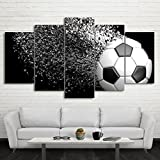 Waterproof Canvas Painting Wall Art Soccer Football Sports Themed Canvas Wall Art for Boys Room Wall Decor Boys Gift Wall Pictures for Living Room & Bedroom, Black, Framed, size 3