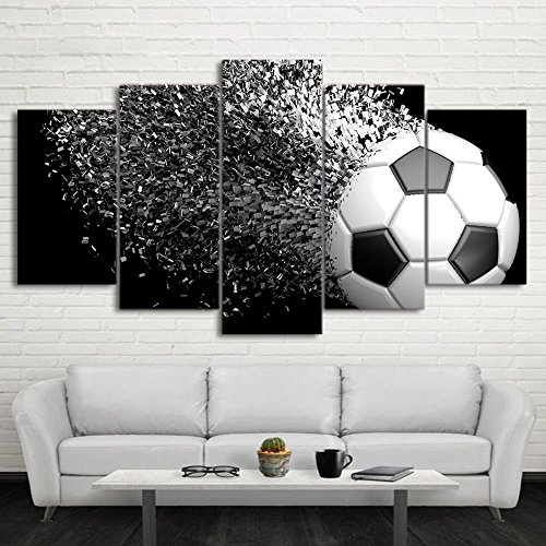 Waterproof Canvas Painting Wall Art Soccer Football Sports Themed Canvas Wall Art for Boys Room Wall Decor Boys Gift Wall Pictures for Living Room & Bedroom, Black, Framed, size 3 by Garth
