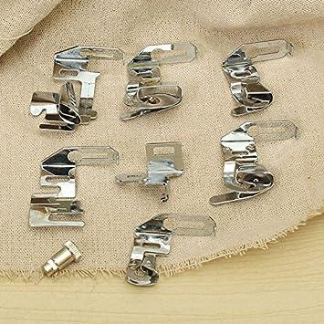 Raza moderno Rolled dobladillo prensatelas juego para Janome cantante máquina de coser doméstica Parte Máquina de coser costura herramientas accesorios ...