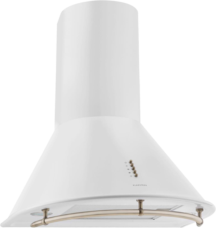 KLARSTEIN Lumio Neo Campana extractora Retro (60cm, 610 m³/h, Clase A, Acero Inoxidable, 3 Niveles de Potencia, Atractivo diseño, Filtro Grasa Apto para lavavajillas) - Blanco