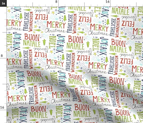 Spoonflower Christmas Fabric - Merry Christmas Hand Lettered Doodle Christmas Pattern Print on Fabric by The Yard - Basketweave Cotton Canvas for Upholstery Home Decor Bottomweight Apparel