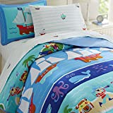 Wildkin Lightweight Full Comforter Set, 100% Cotton Full Comforter with Embroidered Details, Includes Two Matching Shams, Coordinates with Other Room Décor, Olive Kids Design – Pirates