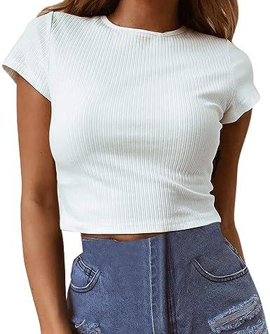 Top Corto De Punto Blusa De Punto Blusas Sin Mangas Mujer Moda Completi Blusa De Manga Larga con Cuello En V Blanca Camiseta Tops: Amazon.es: Ropa y accesorios