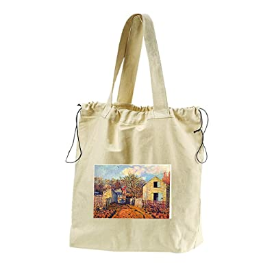 Village Voisins Part Louveciennes (Sisley) Canvas Drawstring Beach Tote Bag