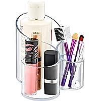 Lifeeasy 360derece Make-up-Organizer akrilik döndürülebilir büyük kapasite Cosmetics muhafaza Tabletop Ekran, şık takı saklama kutusu–beyaz
