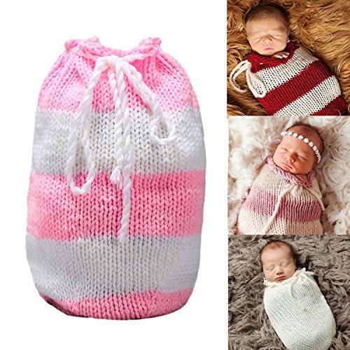2cdf4166de0 Amazon.com  Sunmig Newborn Baby Photo Prop Sleeping Bag Handmade Crochet  Knitted Photography (Pink White)  Baby