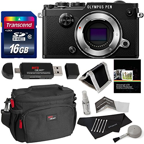 Olympus PEN-F Body Only Black Camera, Transcend 16GB Memory Card, Polaroid Cleaning...