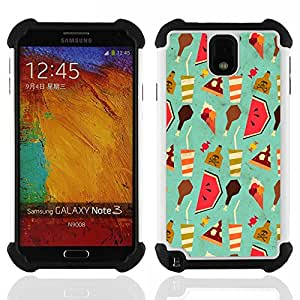 Dragon Case- Dise?¡Ào de doble capa pata de cabra Tuff Impacto Armor h??brido de goma suave de silicona cubierta d FOR Samsung Galaxy Note3 N9000 N9008V N9009- FOOD ICE WALLPAPER CREAM WATERMELON DRINK ART