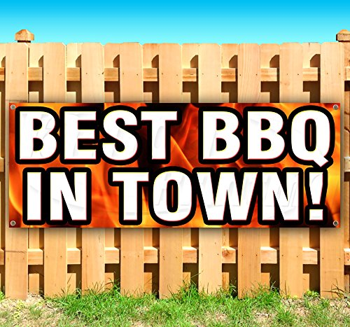 Best BBQ In Town 13 oz heavy duty vinyl banner sign with metal grommets, new, store, advertising, flag, (many sizes available) by Tampa Printing