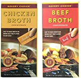 Savory Choice Liquid Chicken and Beef Broth Concentrates, Set of 2 Boxes
