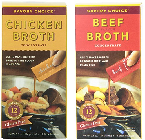 Savory Choice Liquid Chicken and Beef Broth Concentrates, Set of 2 -