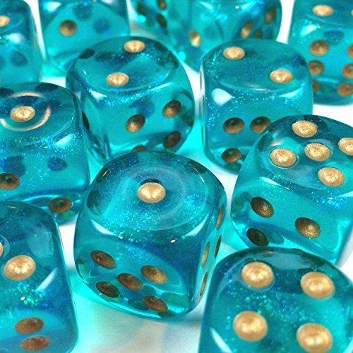 (Custom & Unique {Standard Medium 16mm} 12 Ct Dozen Pack Set of 6 Sided [D6] Square Cube Shape See-Through Playing & Game Dice w/ Rounded Corner Edges w/ Sapphire Shimmer Design [Teal & Gold Colored])
