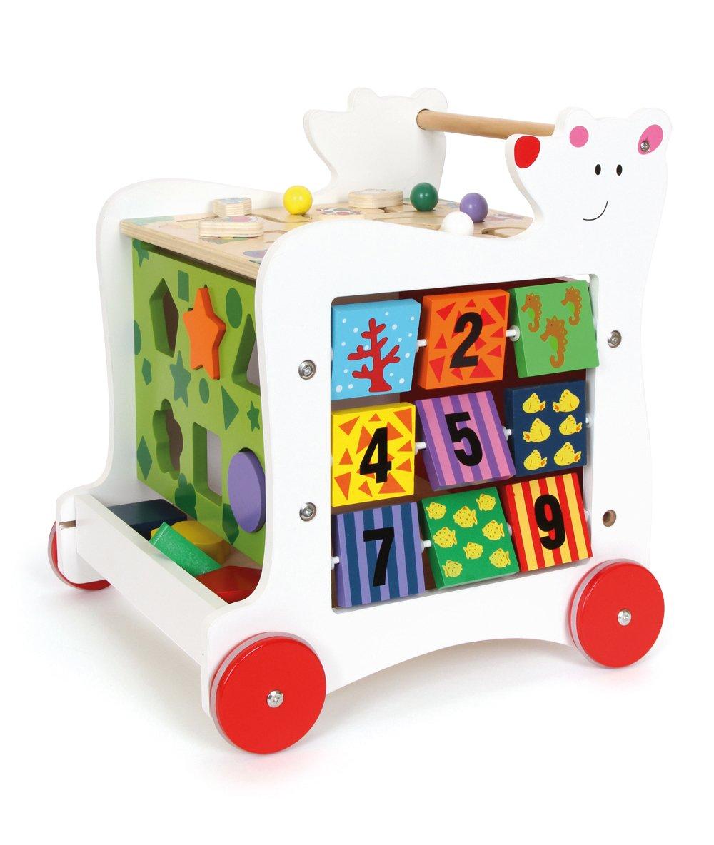 zur F/örderung motorischer F/ähigkeiten 5-seitiger Spielspa/ß small foot 7393 Lauflernwagen B/är aus Holz ab 1 Jahr