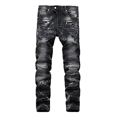 Clearance Hot Fit SaleWuai Slim Vintage Men's Hole Jeans Ripped Y6I7vfgby