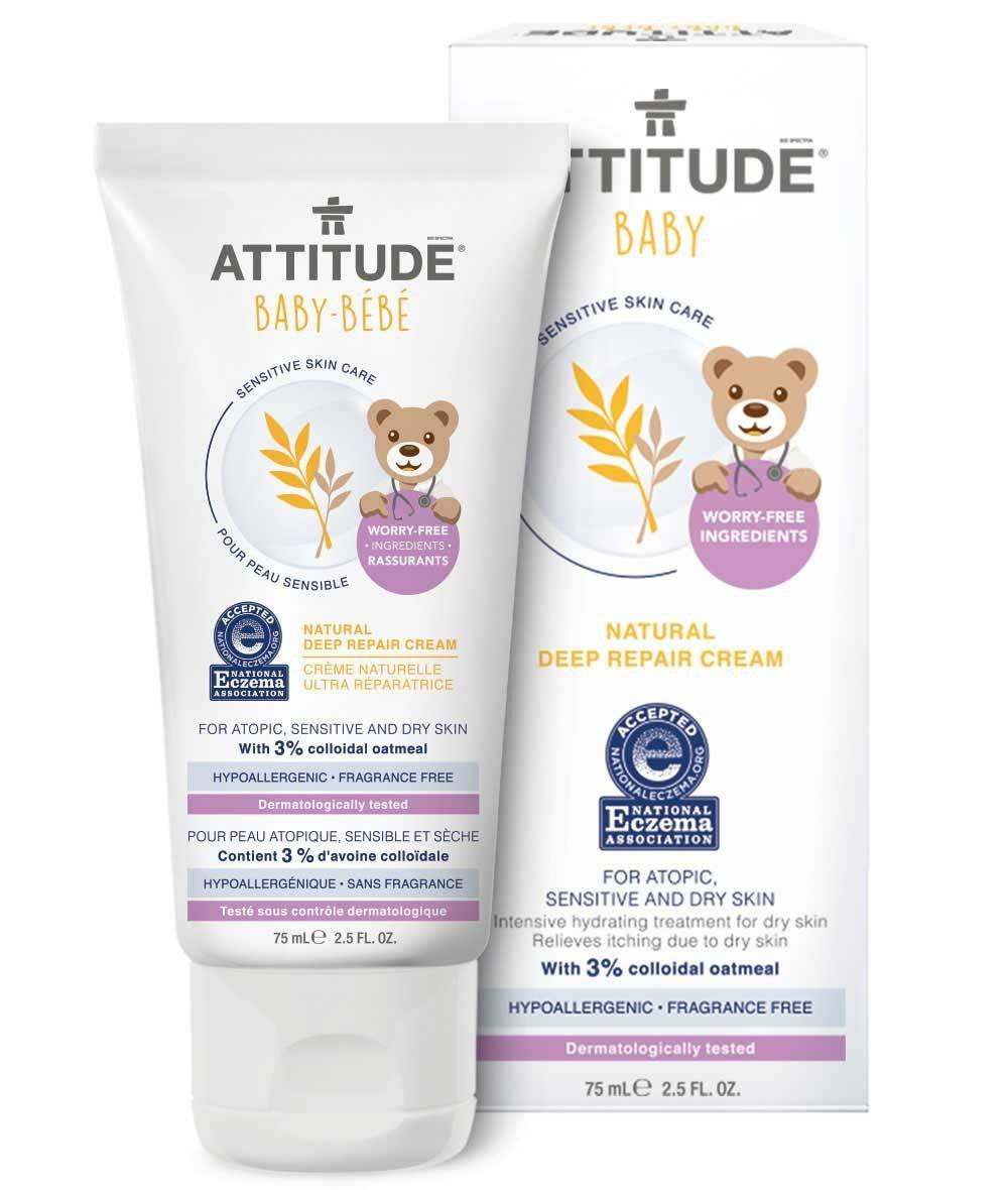 ATTITUDE - Baby Natural Deep Repair Cream - With Colloidal Oatmeal - Hypoallergenic, Perfect for Extremely Sensitive or Atopic Skins - NEA Certified - Vegan and Cruelty Free - 75 ml