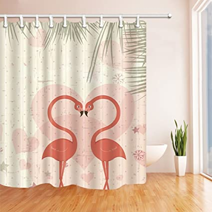 KOTOM Romantic Love Shower Curtains Heart Shaped Flamingo Fall In Polyester Fabric Waterproof