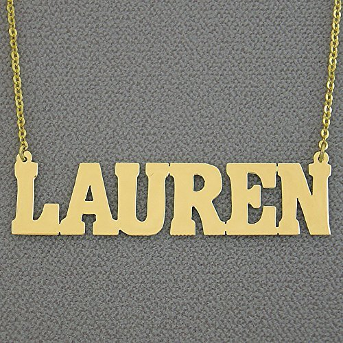 2 Inch Large Name Necklace 10k Gold Personalized Bold Block Font Nameplate Jewelry