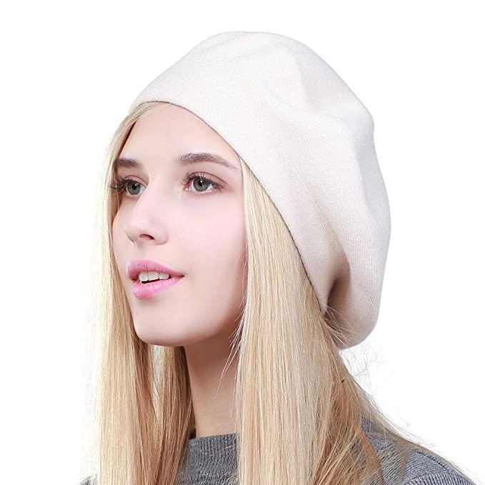 Hippie Hats,  70s Hats GEEBRO Solid Color Warm Wool Spring Berets French Beanie Beret Hat for Women $15.69 AT vintagedancer.com