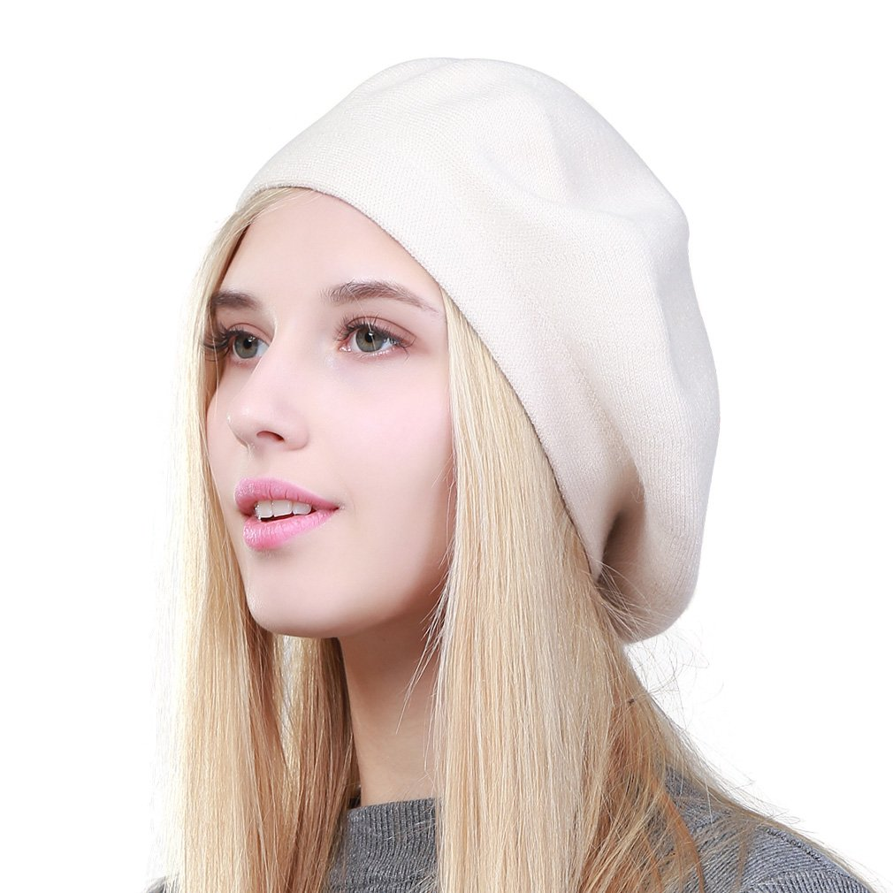 GEEBRO Hat Fashion Solid Color Warm Wool Spring Berets Women French Artist Beanie Beret Hat for Women DQ106 (White)