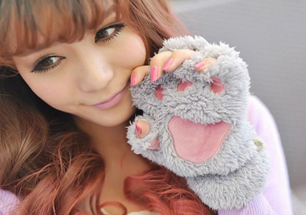 Grey Womens cat gloves costume accessories by A.I.S