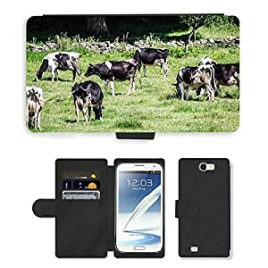 Super Stella Cell Phone Card Slot PU Leather Wallet Case // M00147052 Cows Cow Animals Nature Fauna // Samsung Galaxy Note 2 II N7100