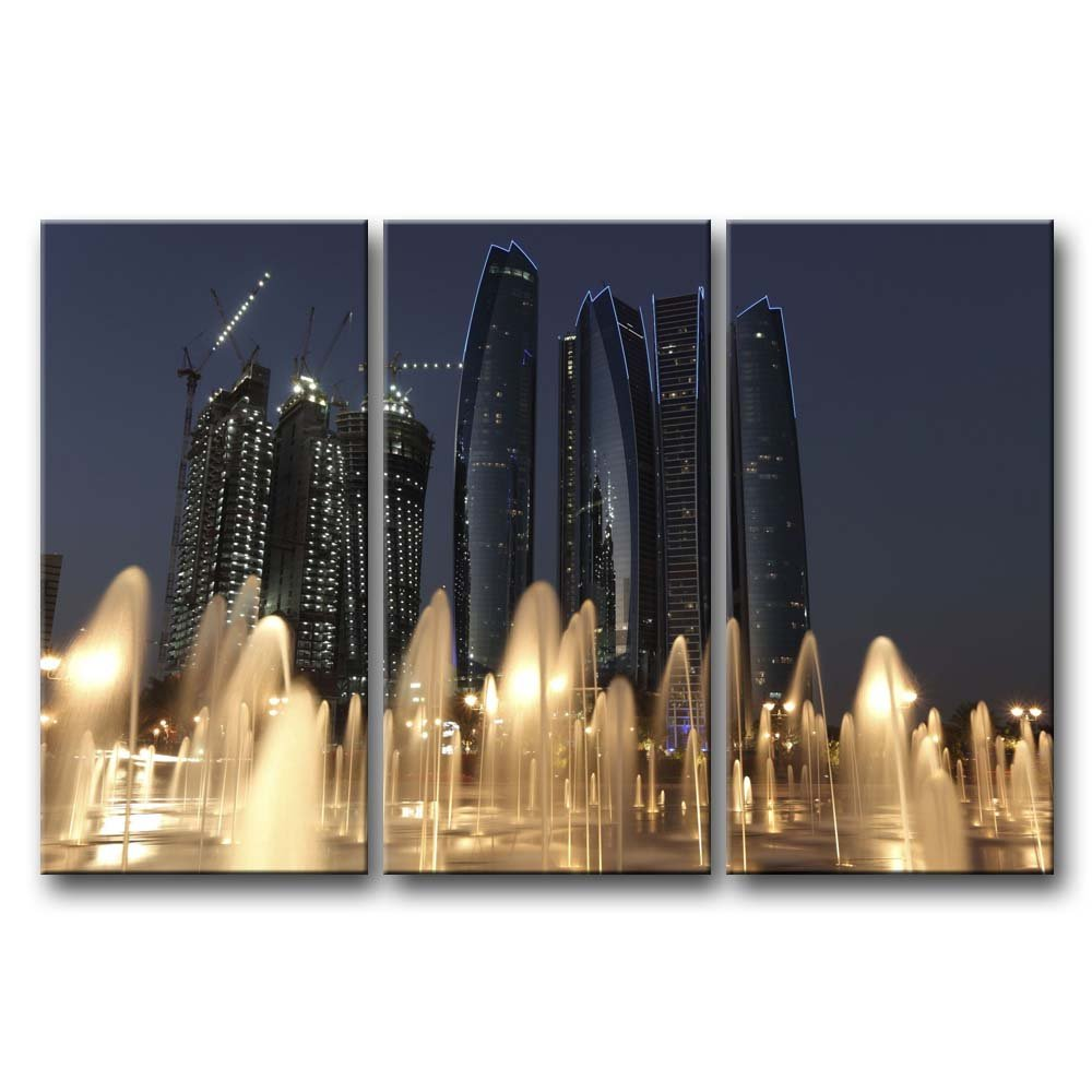 So Crazyアート® 3ピース壁アートペイントAbu Dhabi Fountain前高建物プリントキャンバスThe Picture City Pictures Oil Forホーム現代の装飾印刷装飾寝室 12x24inchx3Panel 1510373C1MK 12x24inchx3Panel  B00M938R10