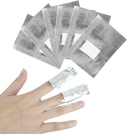 Kindax - 200 hojas de aluminio y algodón para retirar el esmalte semipermanente y el gel para
