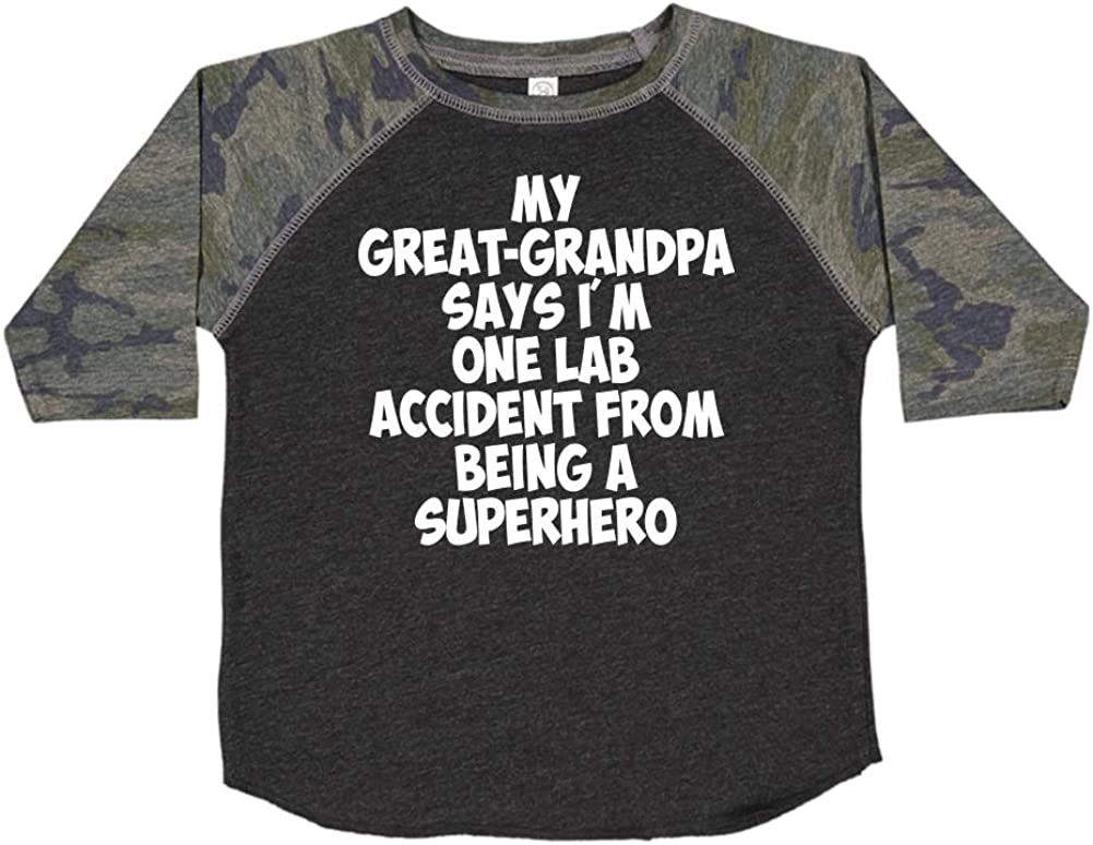Toddler//Kids Raglan T-Shirt My Great-Grandpa Says Im One Lab Accident from Being A Superhero