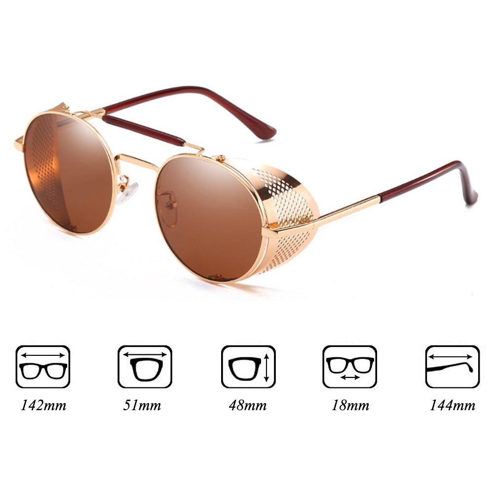 Kunfang Retro Round Steampunk Sunglasses Side Shield Goggles Gothic Sunglasses Men Donna