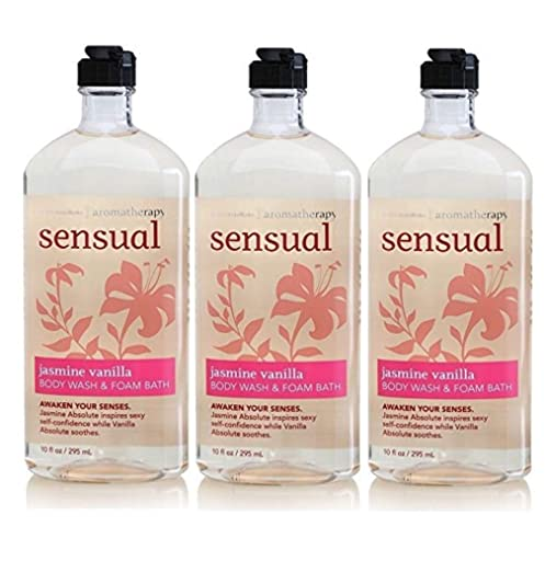Lot of 3 Bath & Body Works Aromatherapy Sensual Jasmine & Vanilla Body Wash & Foam Bath (Jamsine & Vanilla)