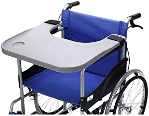 Wheelchair Lap Tray Table Accessories with Cup Holder Medical Portable Child Chair Universal Trays Desk Fit for Manual Powered or Electric Wheelchairs (Tray)