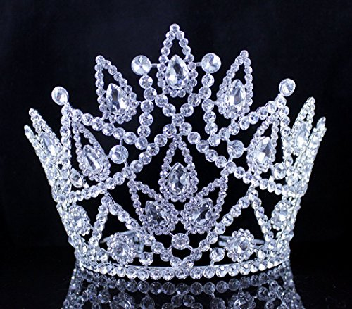 [Janefashions BEAUTY QUEEN CRYSTAL RHINESTONE TIARA CROWN HAIR COMBS PAGEANT HUGE T2177 SILVER] (Crowns For Queens)