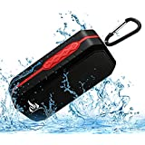 Bluetooth Wireless Speakers Waterproof IPX5 With HD Enhanced Bass Outdoor Wireless Portable Phone Speakers Built-in Mic Support FM AUX TF Card USB for iPhone iPad Android Phones Computer Etc. (Red)