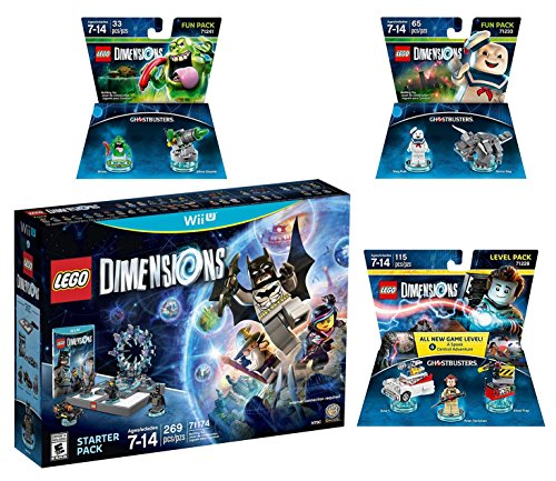 Lego Dimensions Ghostbusters Starter Pack + Peter Venkman Level Pack + Slimer + Stay Puft Fun Packs for Nintendo Wii U Console by WB Lego