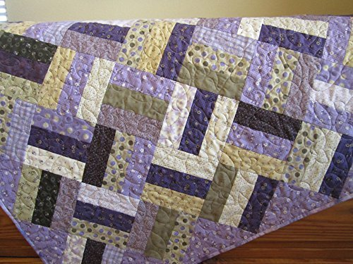 Handcrafted Quilted Throw (Purple Quilt, Patchwork Quilt, Homemade Quilt, Lap Quilt, Quilted Throw, Pieced Quilt, Handcrafted Quilt, 100% Cotton, Made in USA,)