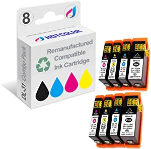 HOTCOLOR 8PK Compatible for Dell Series 31 32 33 Ink Cartridge for Dell V525w V725w Printer