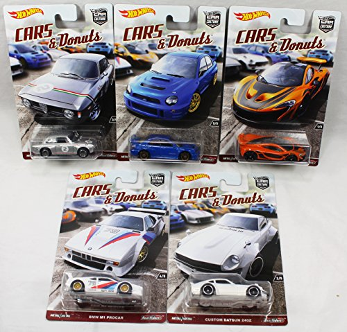Hot Wheels Car Culture Cars and Donuts Set of 5 Real Rider Collectible Die Cast Toy (Gta 5 Model Cars)