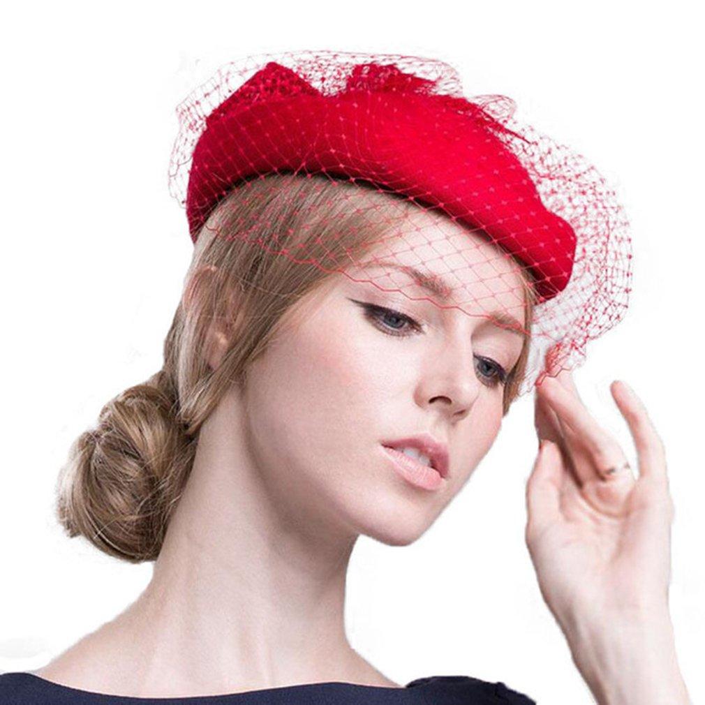 Women Fascinator Hats,Pillbox Hat with Veil Derby Cocktail Tea Wedding Party Cap