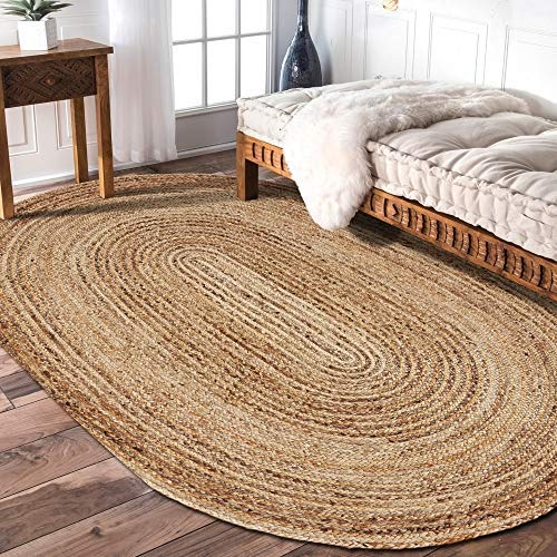 LR Resources NATUR12036NGY79OV Rug Jute LR12036-NGY79OV Natural/Gray Oval 7 x 9 ft Indoor, 7' x 9' ()