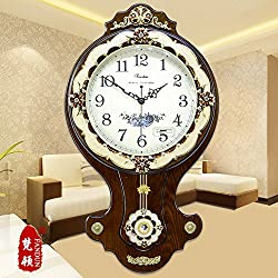 European Antique Solid Wood Wall Clock Garden Living Room Minimalistic Fashion Quartz Watch Idea Queen Swinging Clock,20 Inch,New 13-2 Café
