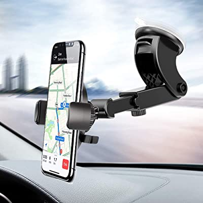 Windshield Phone Stand for Car, Dashboard Phone Mount 360° Rotation Stretchable One Touch Car Holder Compatible for iPhone 8 Plus X XR XS MAX 7 6s Samsung S10 S8 S9 Plus S7 Note 9 8 LG G5 G6 Nexus 5X