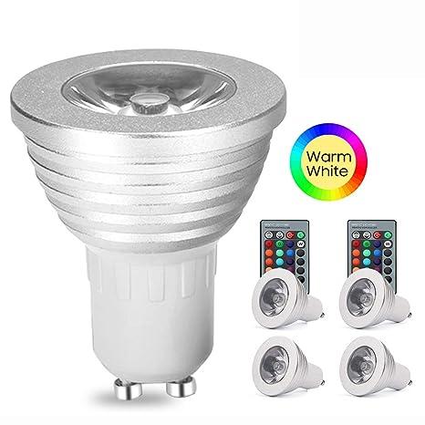 weyo – Lote de 4 3 W Bombilla LED GU10 RGB foco, LED cambio de