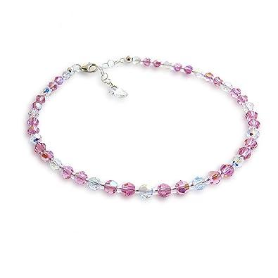 Anklet Ankle Bracelet With Beads Pink Swarovski Crystal And Aurora