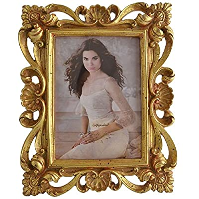Giftgarden 5 x 7 Inch Vintage Picture Frame Gold for Photo 5x7 - Glass front to resistant stain frame, and the total hand painted picture frame size is: about 8.1X10.04inch, and the inner picture frame size: 5x7-inch Creative poly resin carving hollow up personalized picture frames with excellent cut, using the picture frame to decor your home and it will make your home having an antique flavour. Excellent hand painted polyresin craft frames,every our polyresin picture frames will need a series of manufacturing processes to make sure the frame in high quality. (Please notice that the colour is totally hand painting, some times it will little difference with the picture showing, if you want a exactly the same color, please think second to buy it.) - picture-frames, bedroom-decor, bedroom - 61MeKCmg64L. SS400  -