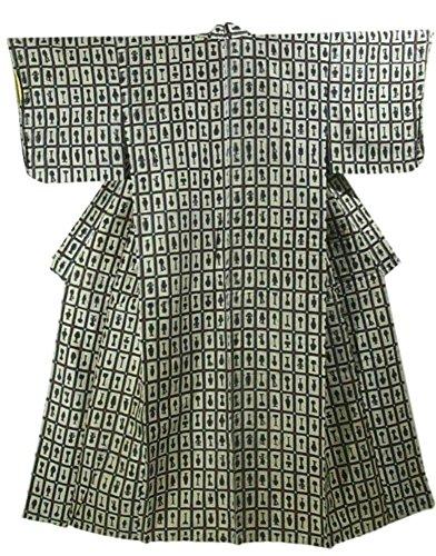 ネクタイサージ故障リサイクル 着物 銘仙 正絹 袷 格子模様に器物文 裄63cm 身丈156cm