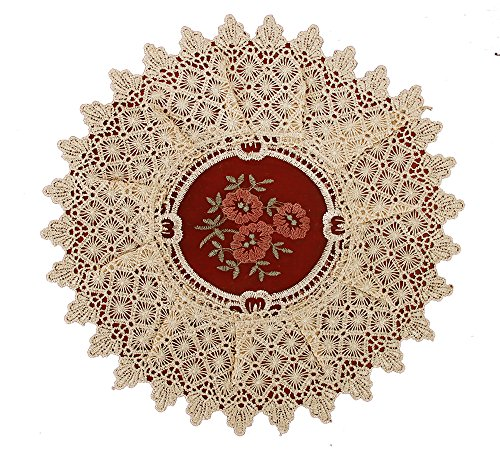 Simhomsen Set of 4 Lace Table Doilies Round 12 inch, Victorian Style and Vintage Look