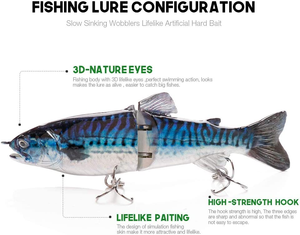FBXYL 12Cm 23G Sinking Wobblers Fishing Lure Lifelike Trout 2-Segment Crankbait Hard Artificial Bait Pike Fishing Swimbait